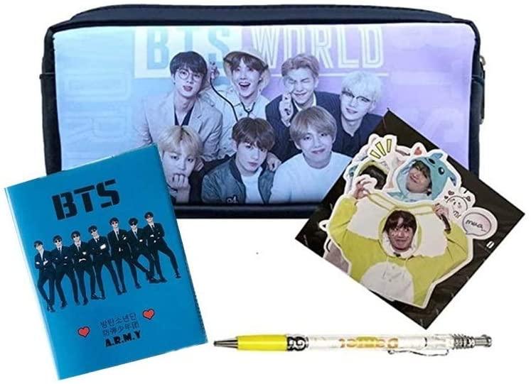 BTS Pencil Case Bangtan Boys Pen Bag Cosmetic Pouch,BTS Small Notebook,BTS Pen,BTS Card Sticker(Pink)