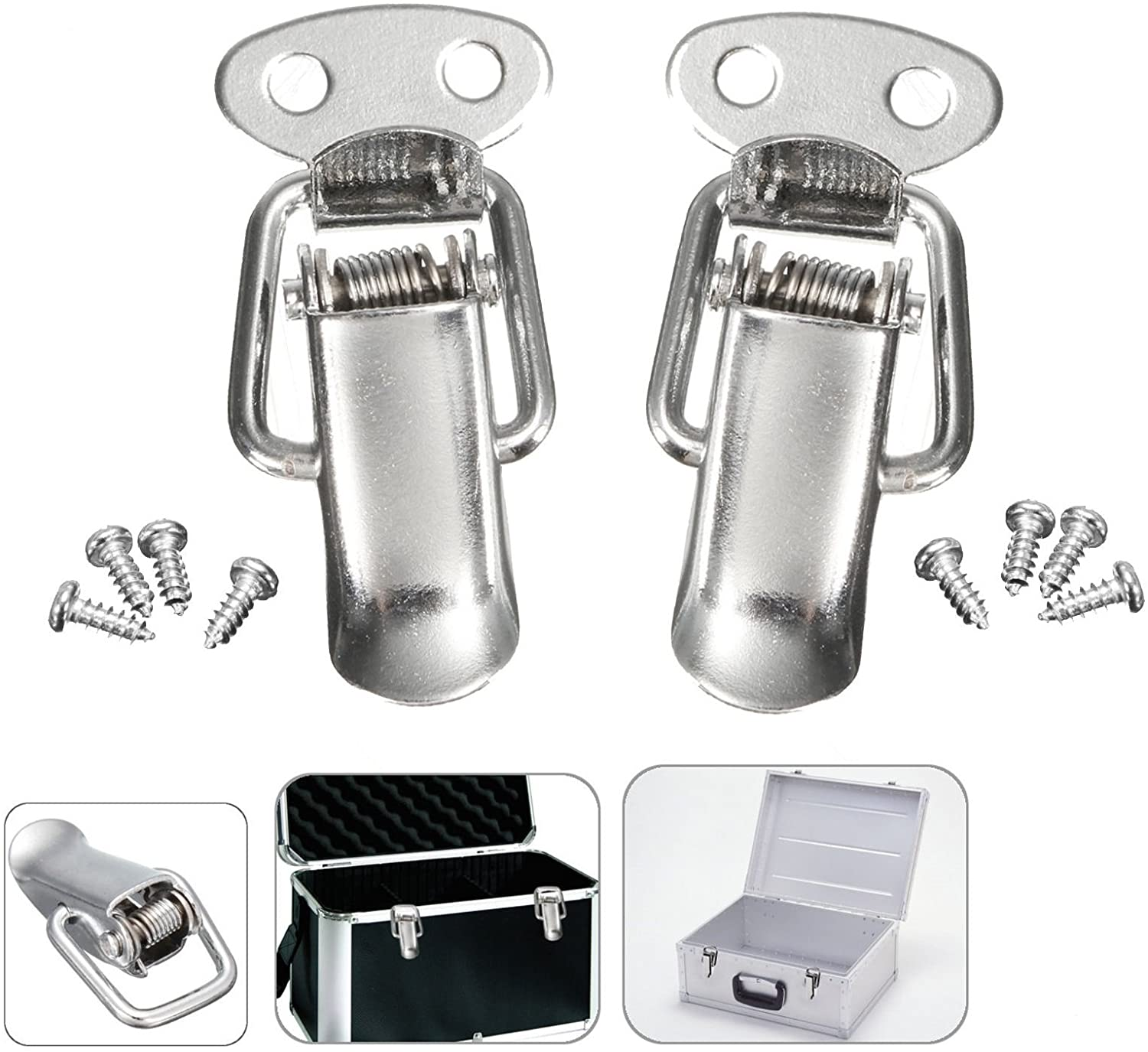 2 Sets of Stainless steel Toggle Box Spring Loaded Case Quick Release Door Cabinet Hasp Lock Latch
