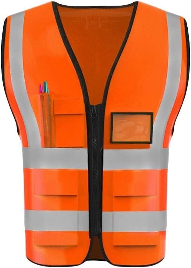 Safety Vest High Visibility Vest, Night Travel Safety High Visibility Vest Lightweight Breathable Multi-Pocket Overalls Workwear Vest Child Safety Vest (Color : Fluorescent red, Size : M)
