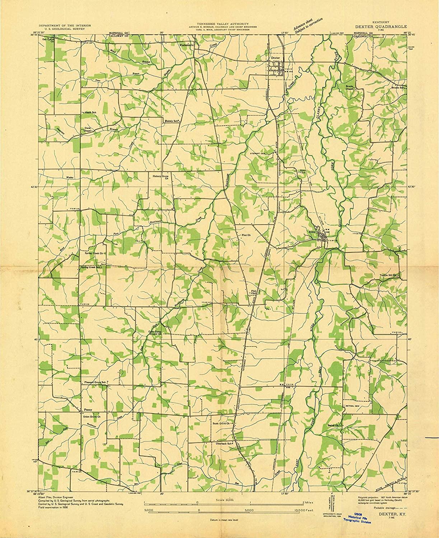Map Print - Dexter, Kentucky (1936), 1:24000 Scale - 24