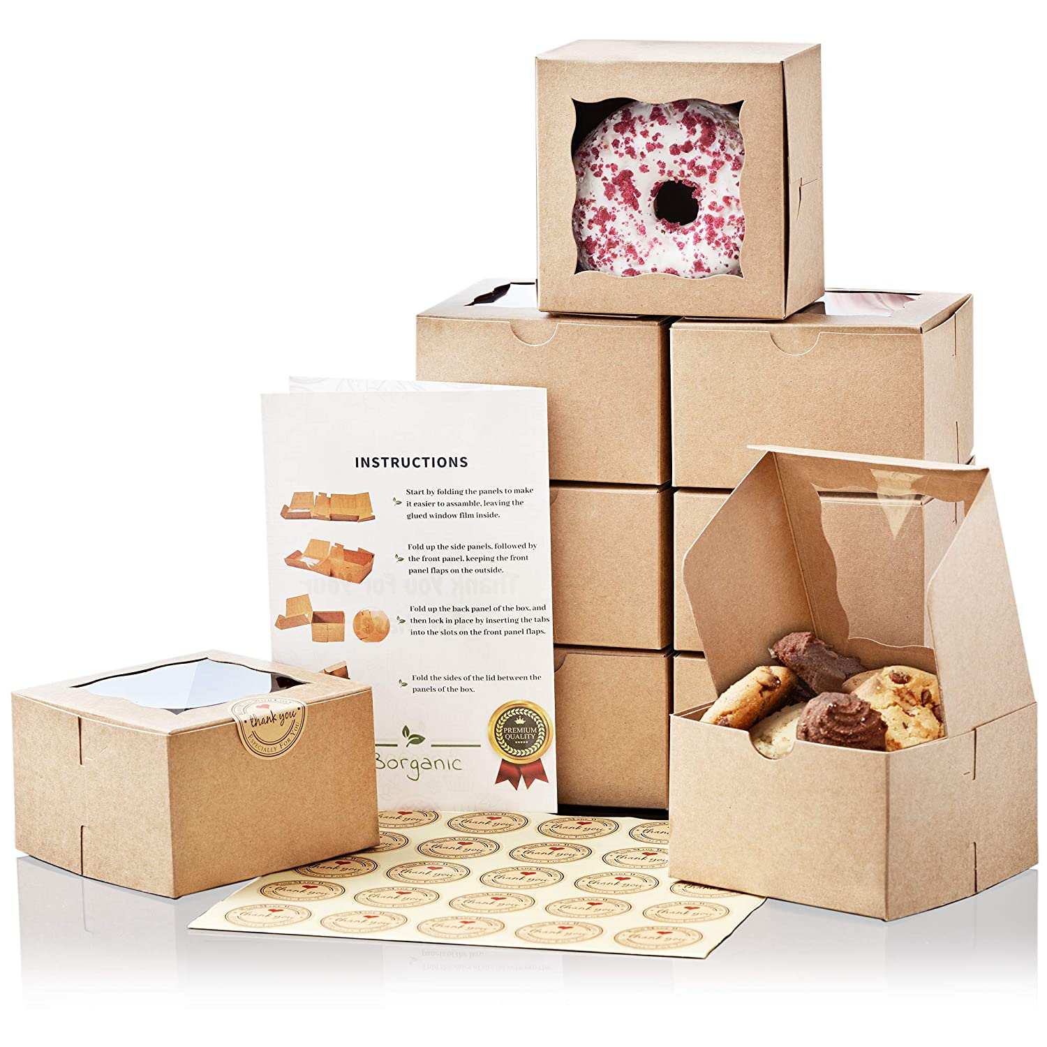 Premium Brown Bakery Boxes [50 Pack] - Extra Thick | Oil Resistant Cookie Boxes with Window | 4x4x2.5 Inches | for Pastry, Donut, Mini Cake, Macaron & Dessert!