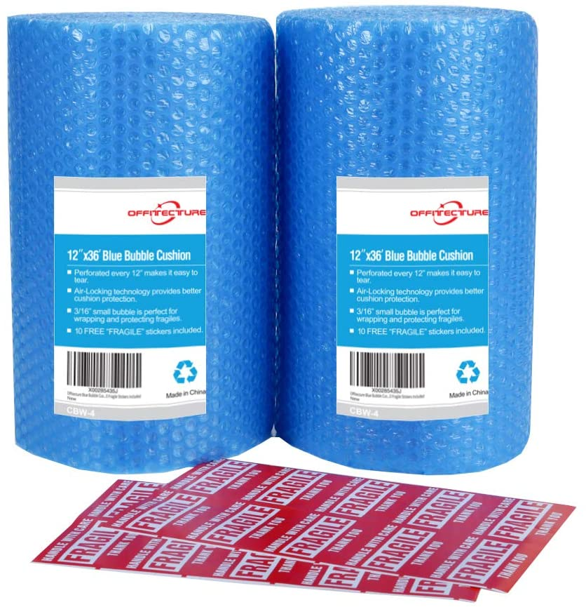 """2-Pack Blue Bubble Cushioning Wrap Rolls, 3/16"""" Air Bubble, 12 Inch x 72 Feet Total, Perforated Every 12"""", 20 Fragile Stickers Included"""