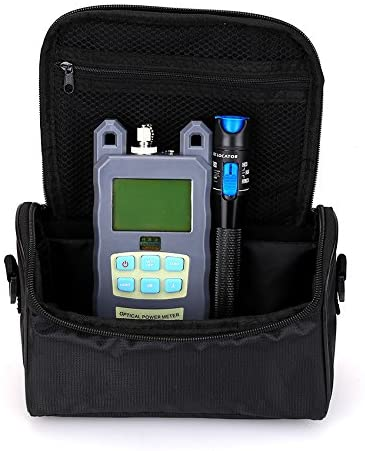 FTTH Fiber Tool Small Bag with Optical Power Fiber Meter and 1mW 3-5KM Visual Fault Locator with 2.5mm Universal Connector Fiber Optic Cable Tester Checker Test Tool for Fiber Optic CATV Engineering