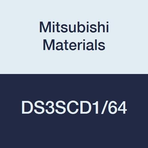 Mitsubishi Materials DS3SCD1/64 DS3SC Series Carbide Diamond Star Square Nose End Mill, Short Flute, Center Cut, 3 Flutes, 0.0156