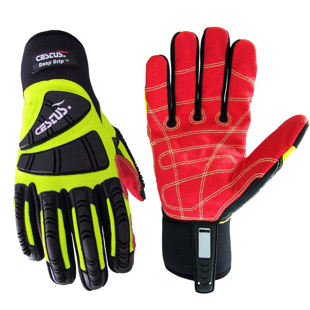 Cestus Pro Series Deep Grip Oil Resistant Impact Glove, Work, Cut Resistant, 4X-Large, Green (Pack of 1 Pair)