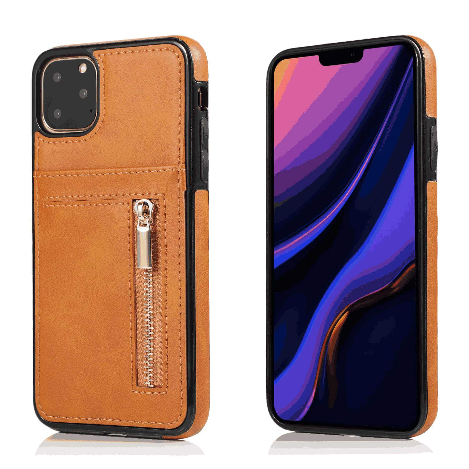 Leather Cover Compatible with iPhone Xs Max, brown Wallet Case for iPhone Xs Max