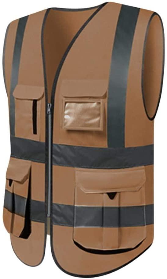 Safety Vest Safety Vest, Comfortable and Breathable Polyester Multi-Pocket Overalls Night Travel Reflective Safety Vest Brown 2 High Visibility Vest Child Safety Vest (Color : XXL)