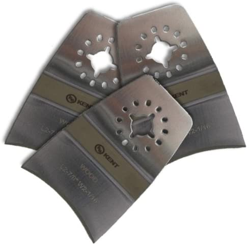 KENT, 3 Concave Stainless Oscillating Blades, For Scraping: Paint, Grout, Caulking, Fits Fein Multimaster, FMM250Q, Bosch, Chicago, Secco, Milwaukee