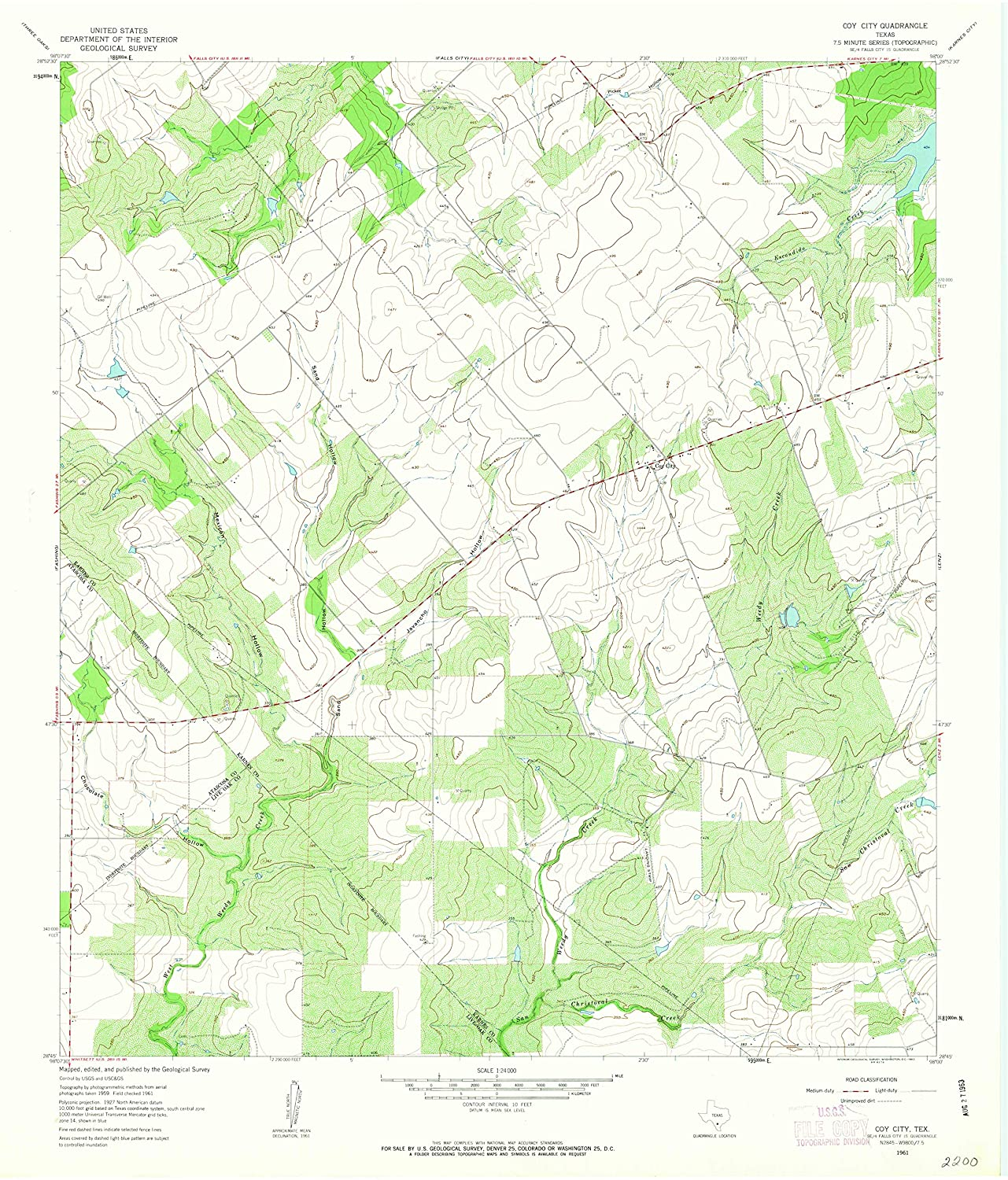 Map Print - Coy City, Texas (1961), 1:24000 Scale - 24