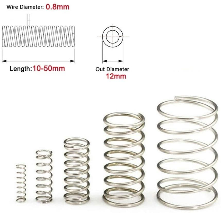 DINGGUANGHE-CUP Extension Springs 10Pcs Compression Spring 304 Stainless Steel Tension Spring Wire Dia 0.8mm Outer Dia 12mm Length 10mm-50mm Multipurpose (Size : 35mm)