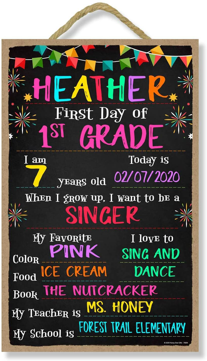 Honey Dew Gifts Wooden Signs, First Day of School Sign with Banners and Fireworks Design, 10 inch by 16 inch Reusable Chalkboard Decorative Sign