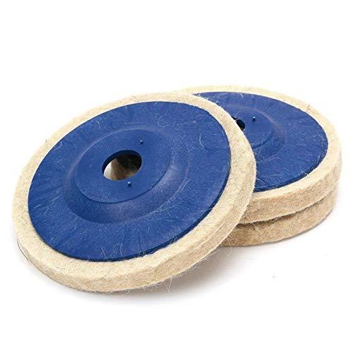 JPONLINE SWDPORT 3PCS 4 Inch Wool Polishing Pads Buffing Angle Grinder Wheel Felt 100mm Polishing Disc Pad Wool Polishing Abrasive Tools
