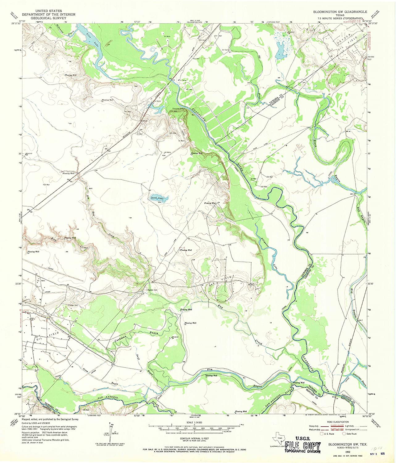Map Print - Bloomington SW, Texas (1952), 1:24000 Scale - 24