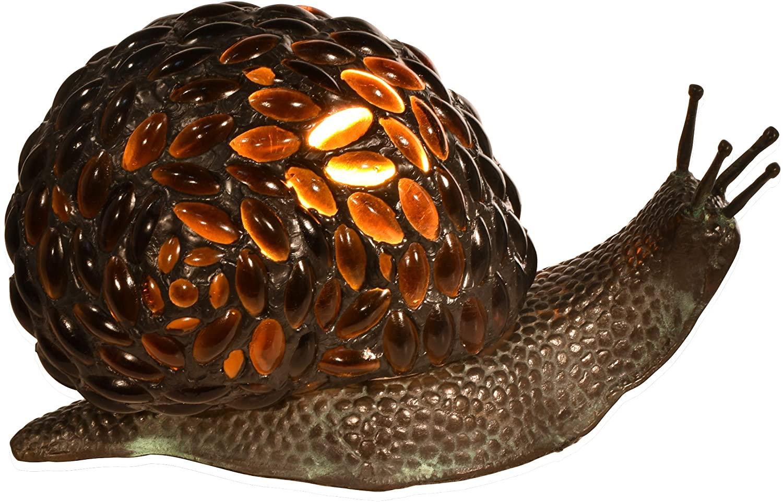 Dale Tiffany TA15174 Jewel Snail Tiffany Accent Table Lamp, Antique Bronze