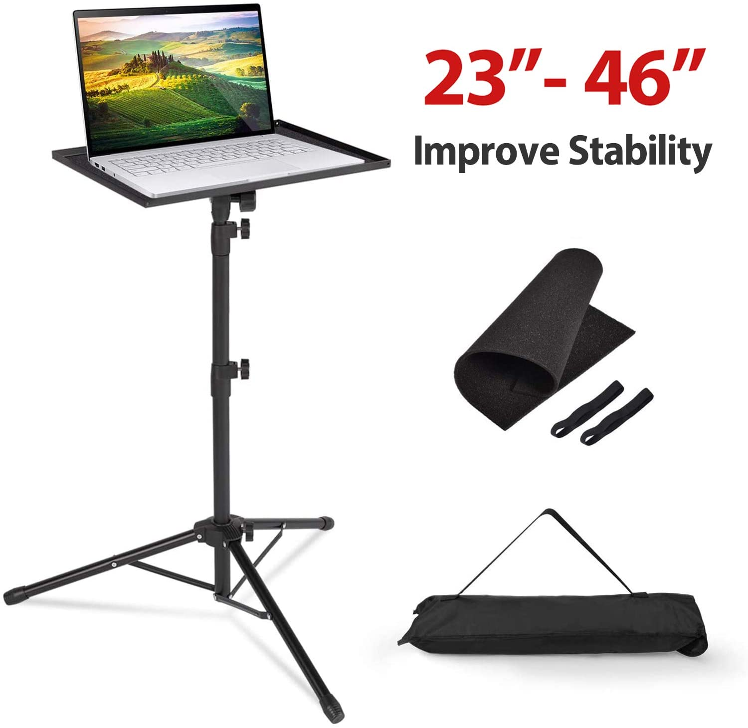 Klvied Projector Tripod Stand, Universal Laptop Tripod Stand, Portable DJ Equipment Stand, Folding Floor Tripod Stand, Outdoor Computer Table Stand For Stage or Studio, Height Adjustable 23 to 46 Inch