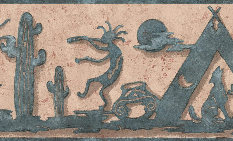 Abstract Kokopelli Aegean Blue on Brown Beige Wallpaper Border Retro Design, Roll 15' x 7''