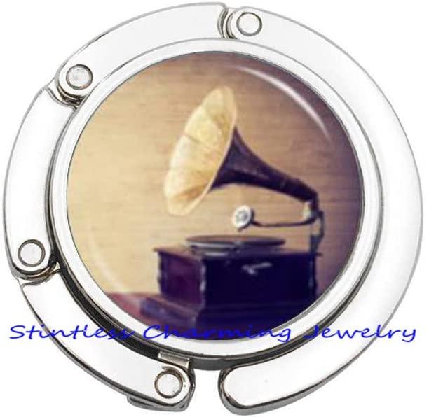 Gramophone Purse Hook, Phonograph Purse Hook, Gramophone Charm, Music Jewelry, Gramophone Jewelry, Phonograph Jewelry, Old Fashioned GramophoneJV274