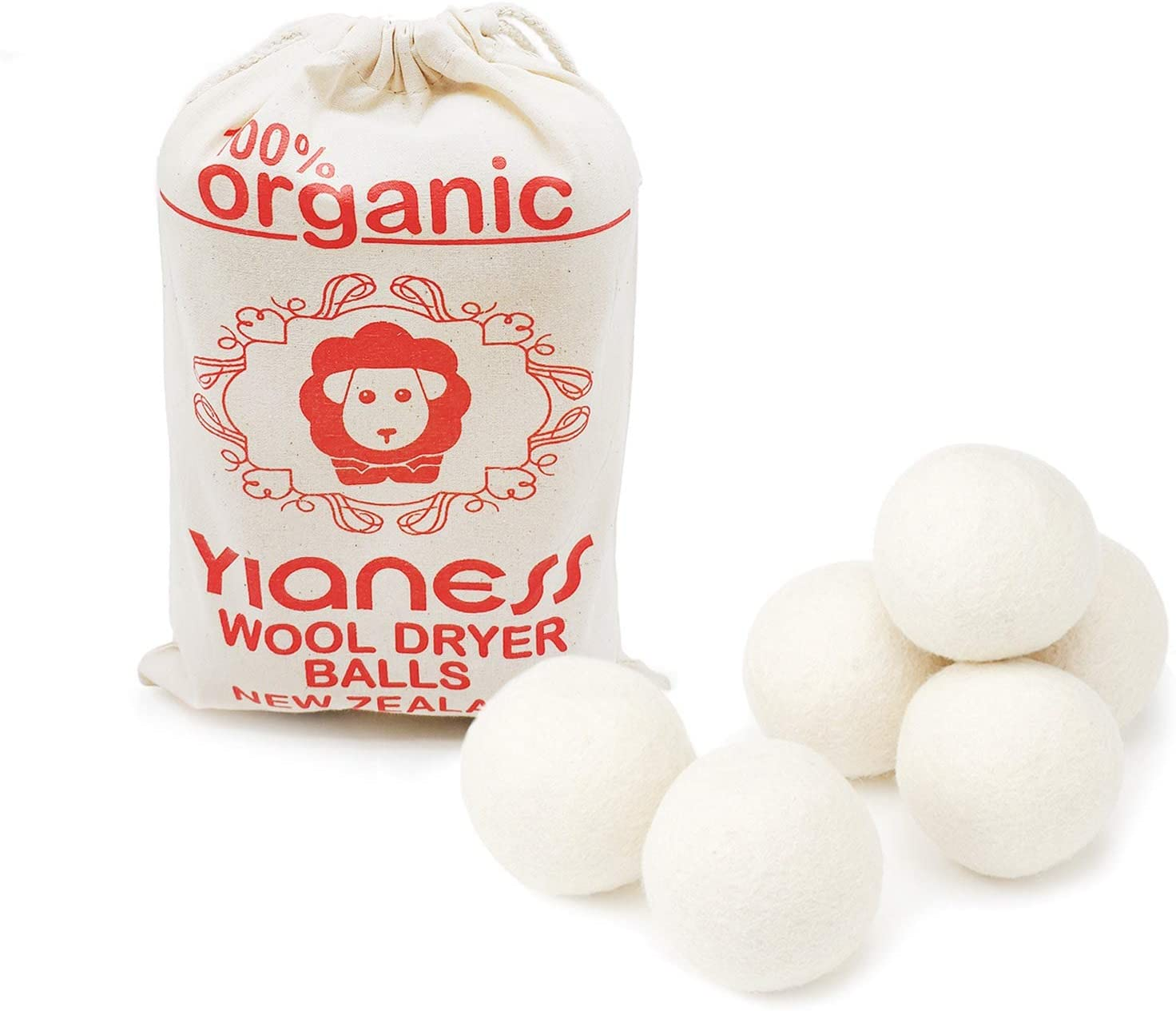 Yianess 6 Piece XL New Zealand Wool Dryer Balls Pure Non Toxic Hand Made Natural Fabric Softener