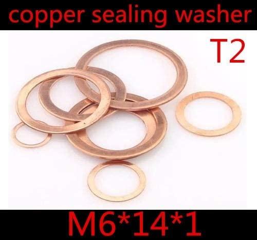 Ochoos 100pcs M6 (6mm x 14mm x 1mm) M614 T2 Copper Flat Washer, 6mm Copper Sealing Wahser, Brass washers