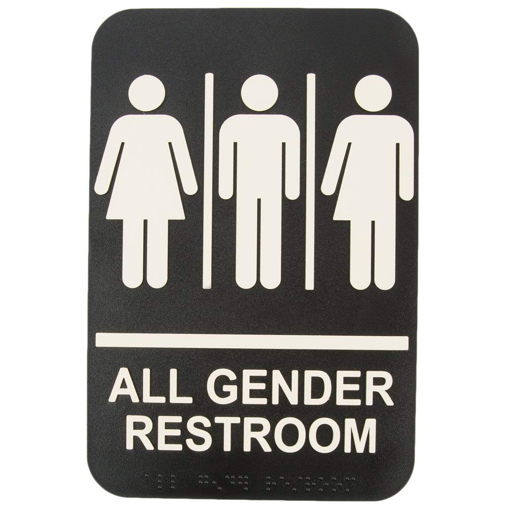 ADA All Gender Adhesive Restroom Toilet Sign with Braille for Business Restaurant, 6