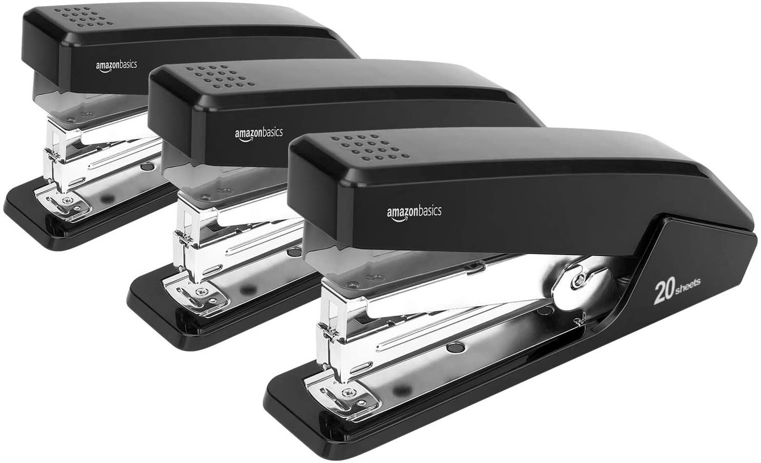 DHgateBasics Reduced Effort Desktop Stapler, Full-Strip, 20 Sheet Capacity - Black, 3 pack