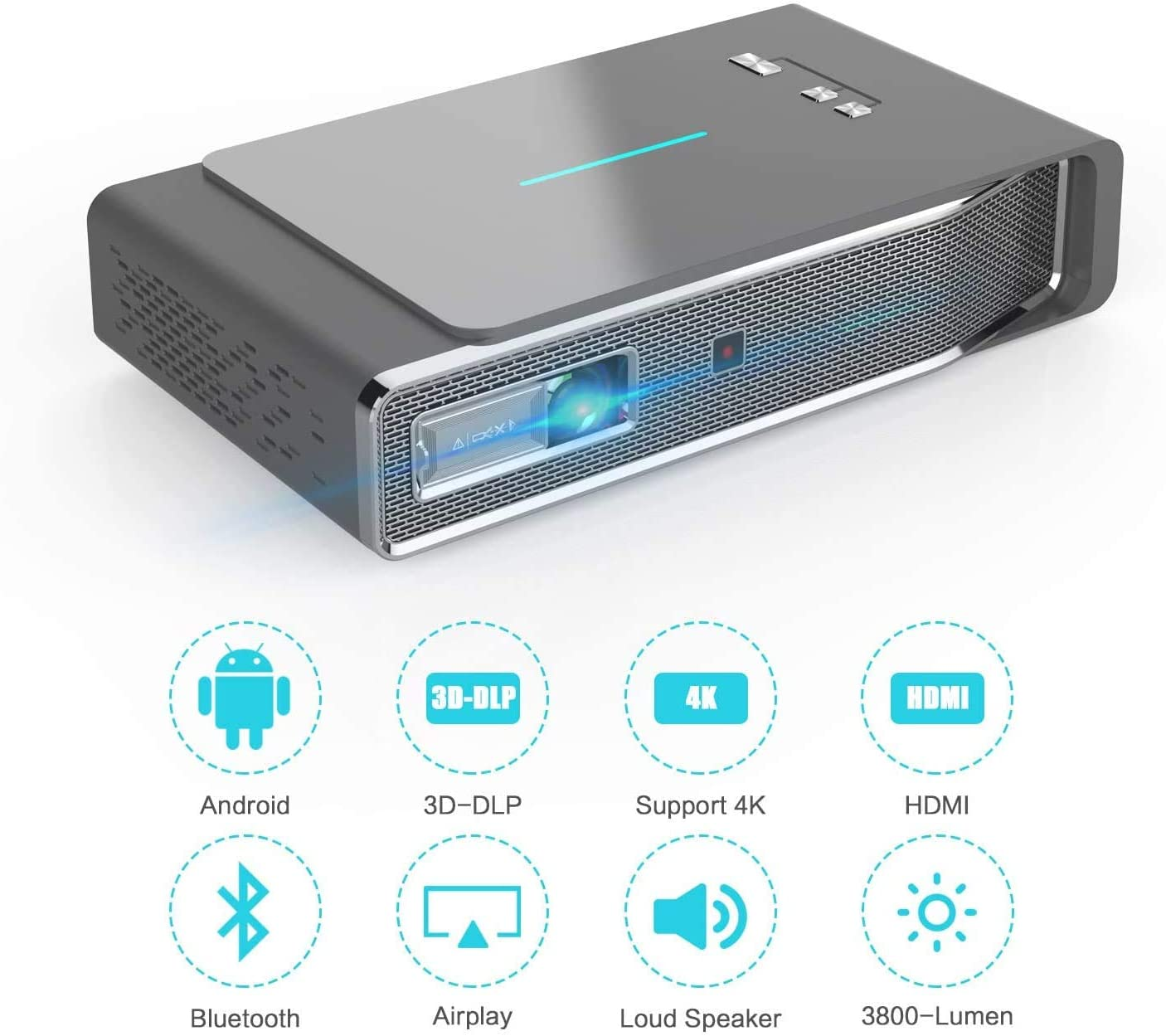 Mini Projector 3800 Lumens 3D Portable DLP Video Projector ±45° Keystone Built in Stereo Speaker Support 4K HDMI USB iPhone PC Bluetooth PS4 300