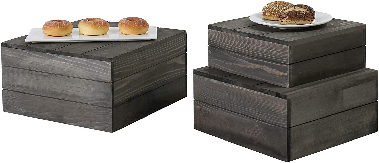MyGift Rustic Gray Wood Crate Display Risers, Set of 3