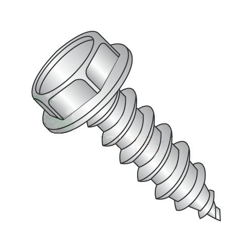 #14 x 1 Type A Self-Tapping Screws/Unslotted/Hex Washer Head / 18-8 Stainless Steel (Carton: 1,000 pcs)