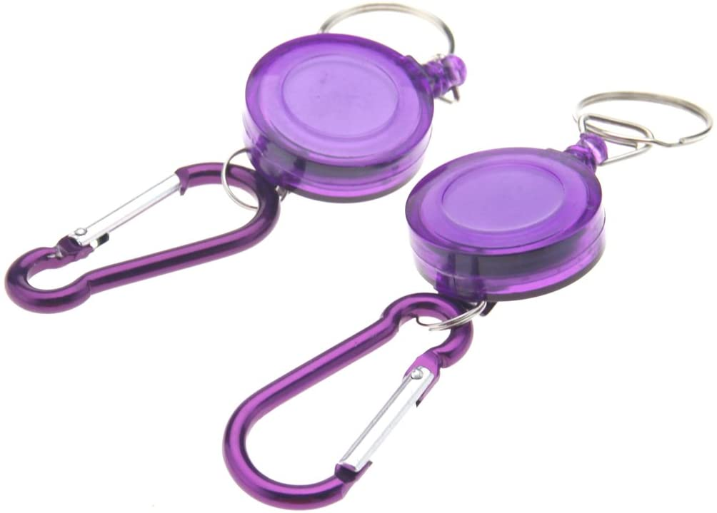 Micro Traders 2 X Purple Retractable Key Chain Badge Reel Carabiner Recoil Holder Pass Id Card