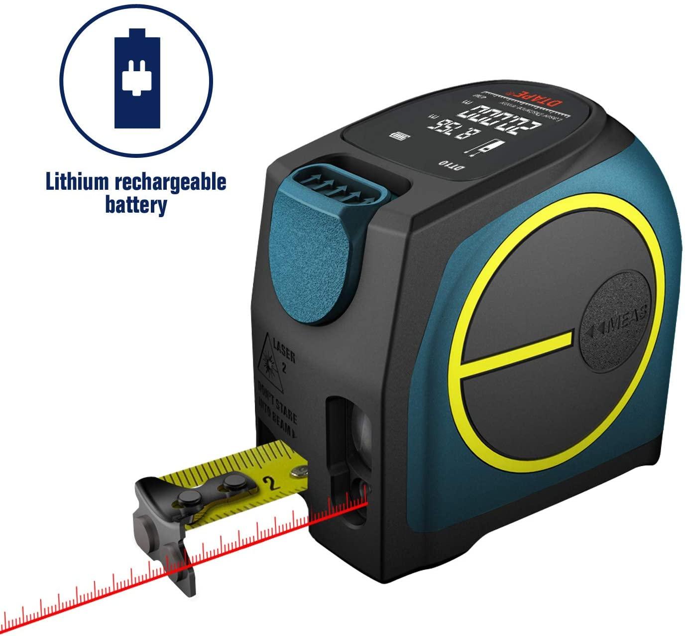 DTAPE Laser Tape Measure 2-in-1,laser measurement 131Ft silent laser range finder USB rechargeable color LCD display, measuring distance, IP54 waterproof, tape length 16Ft, Nylon Coating for DIY