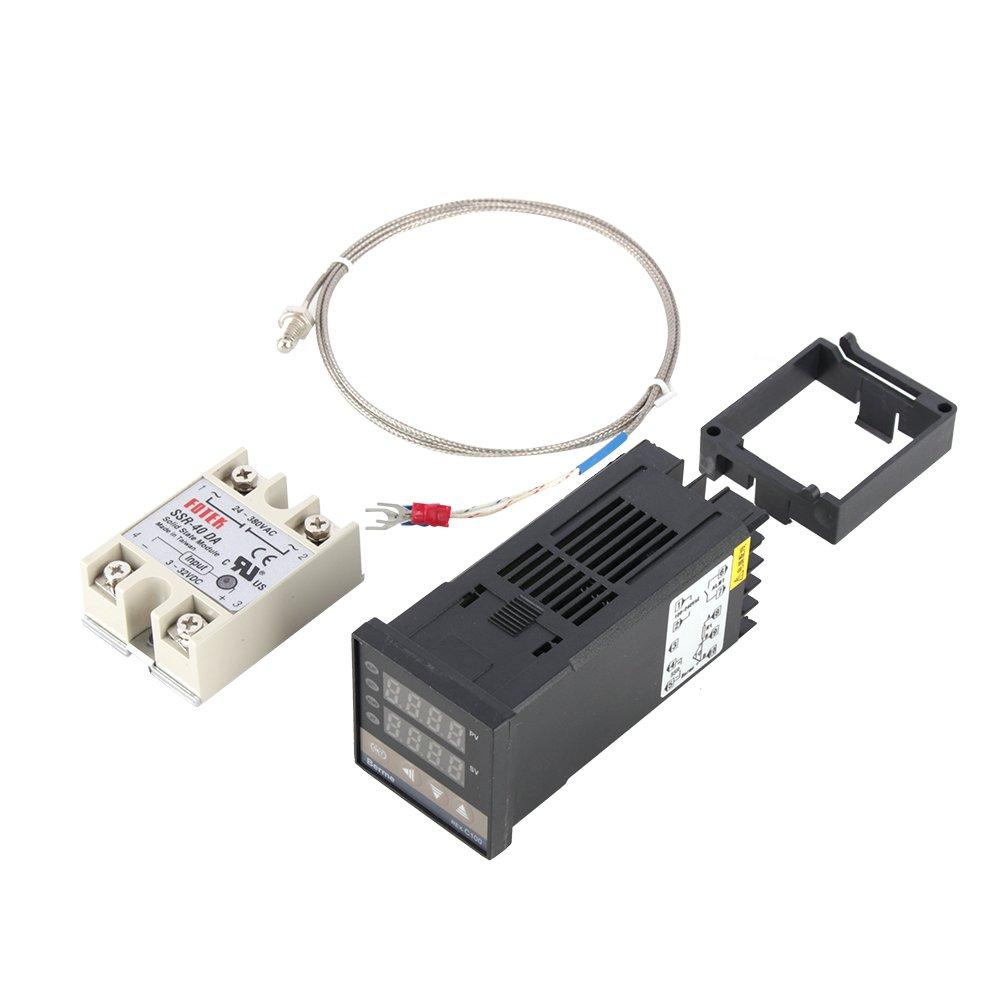 Digital PID Temperature Controller 100-240V + max.40A SSR + K Thermocouple Probe
