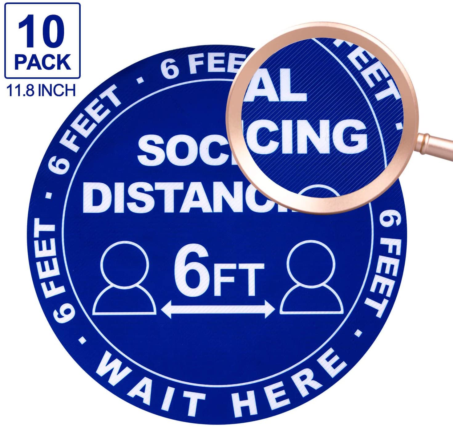 Social Distancing Floor Decals Stickers - 6FT Distance Floor Sticker, Stand Here 6 Feet Apart Sign, 11.8 Inch Round Waterproof Adhesive Anti-Slip Lamination Easy to Clean(10 Pack) (Blue-Texture)