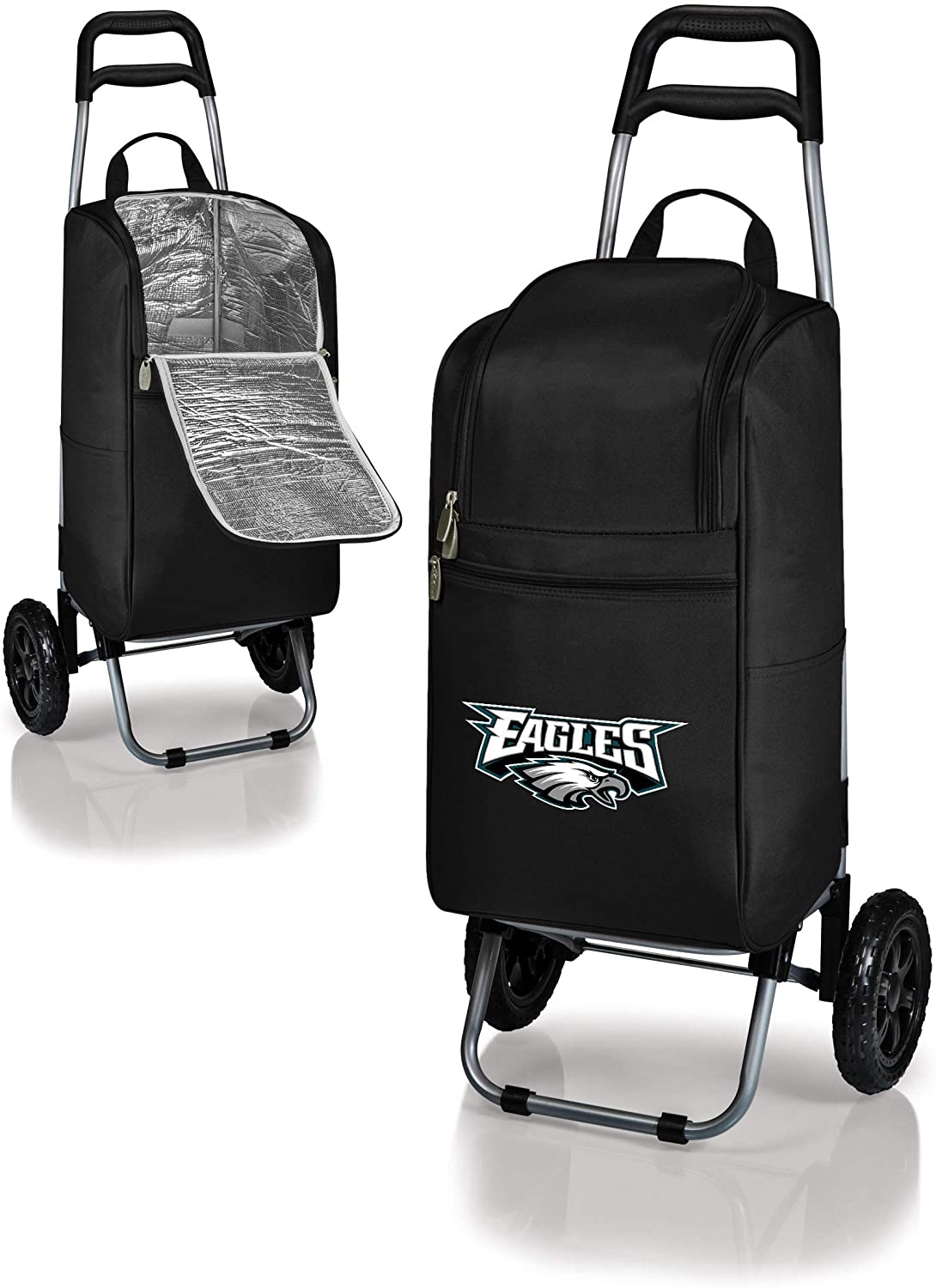 MISC 2 Piece Black White NFL Themed Cart Cooler, Philadelphia Eagles Beer Bag, Teal NFC Folding Trolley Portable Ultra Durable Football Logo Gift Tailgate Beverage Bag Sports, Polyester