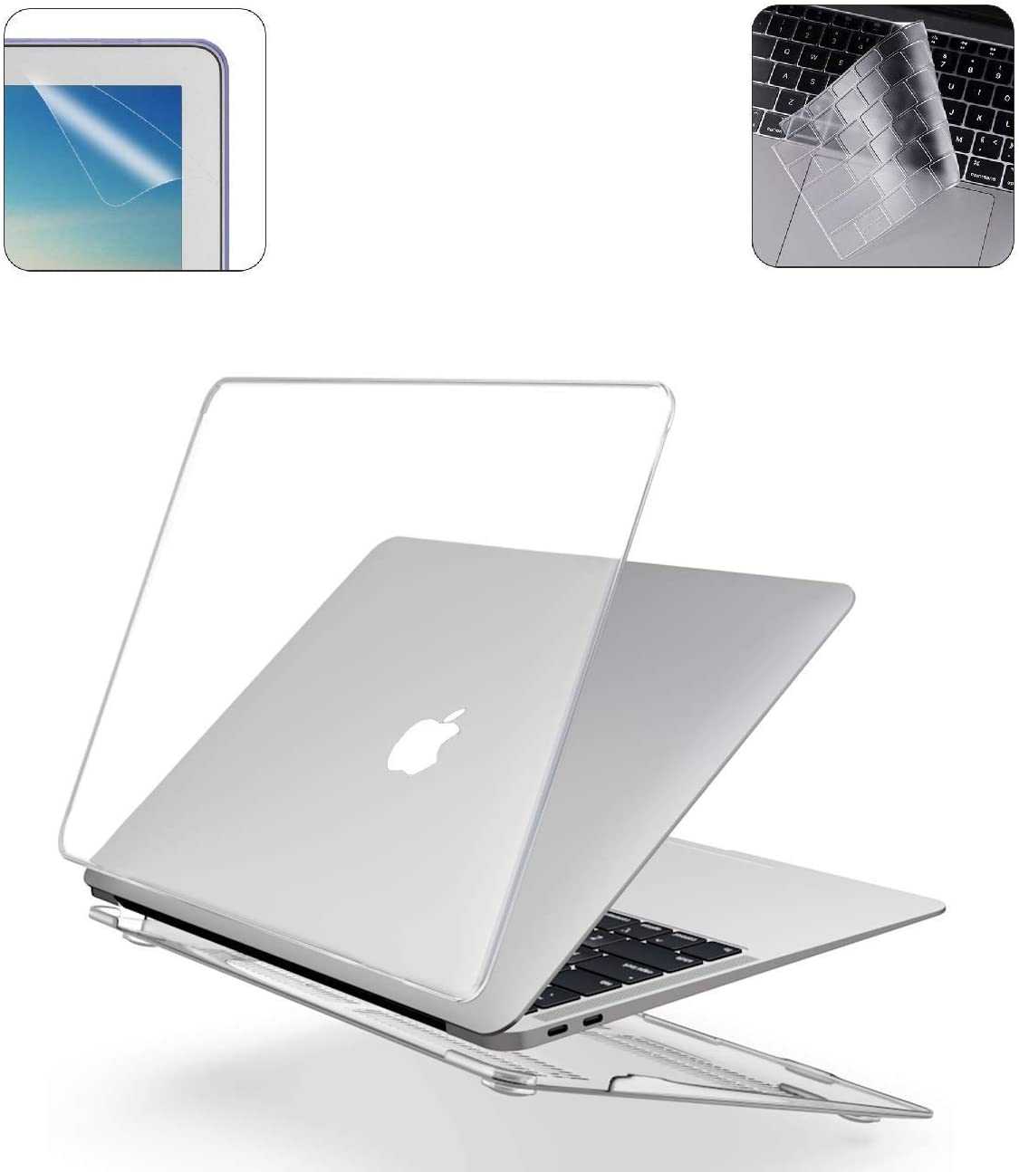 A2179 A1932 MacBook Air 13 Inch Case Keyboard Skin Cover Screen Protector for 2020 2019 2018 Release MacBook with Retina Display Touch ID - Crystal Clear