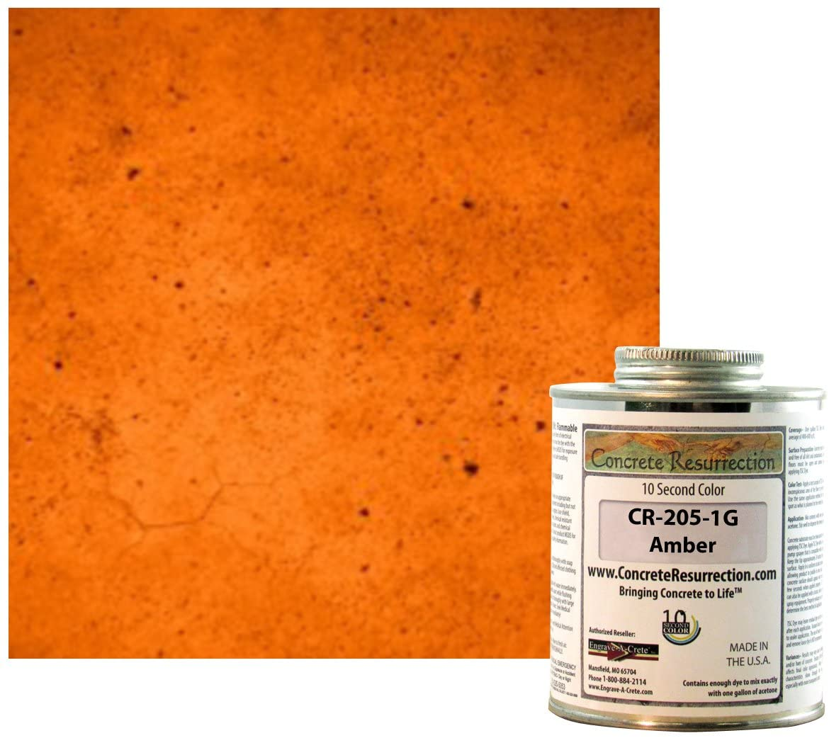 Ten Second Color (TSC) Concrete Dye Concentrate Makes 1 Gallon (Amber) Professional Grade and Easy to use. Brilliant Bold Colors. Semi-Transparent Cement Dye. Dries in Seconds (Amber)