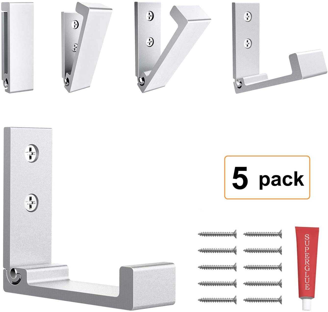 Foldable Adhesive Hooks,Heavy Duty Wall Hooks Zn Cu Alloy Ultra Strong Waterproof Hanger for Robe, Coat, Towel, Keys, Bags, Home, Kitchen, Bathroom with Glue Adhesive .Set of 5 Pack (Silver)