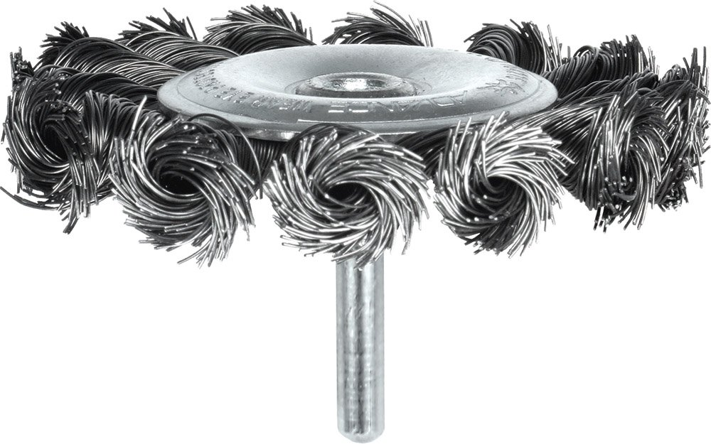 PFERD 764275 Power Economy Universal Line PS-Forte Stem-Mounted Knot Wire Wheel Brush, Round Shank, Carbon Steel Bristles, 3