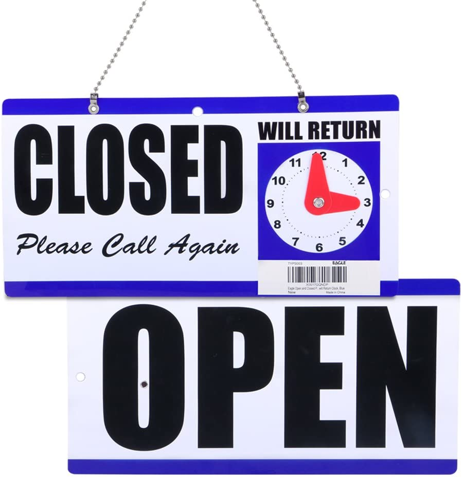"""Eagle Open and Closed Sign, Plastic, with Hanging Chain, Double Sides with """"Will Return"""" Clock, 6X11.5-Inches"""