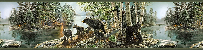 Chesapeake TLL01531B Salvador Green Bear Necessities Border Wallpaper