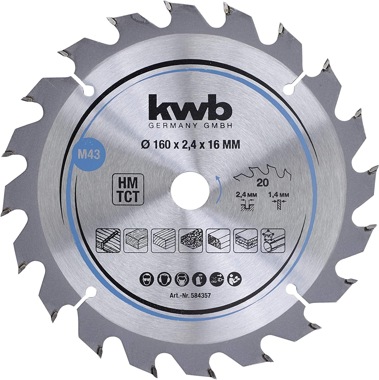kwb 584357 Chipboard Circular Saw Blade 160 x 16 mm Clean Cutting Medium Number 20 Teeth Z-20