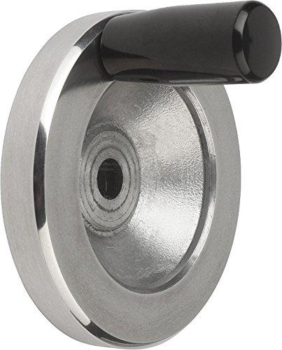 Kipp 06275-2125X14 Aluminum Disc Handwheel with Fixed Handle, Planed, Metric, 125 mm Diameter, 14 mm Bore Size