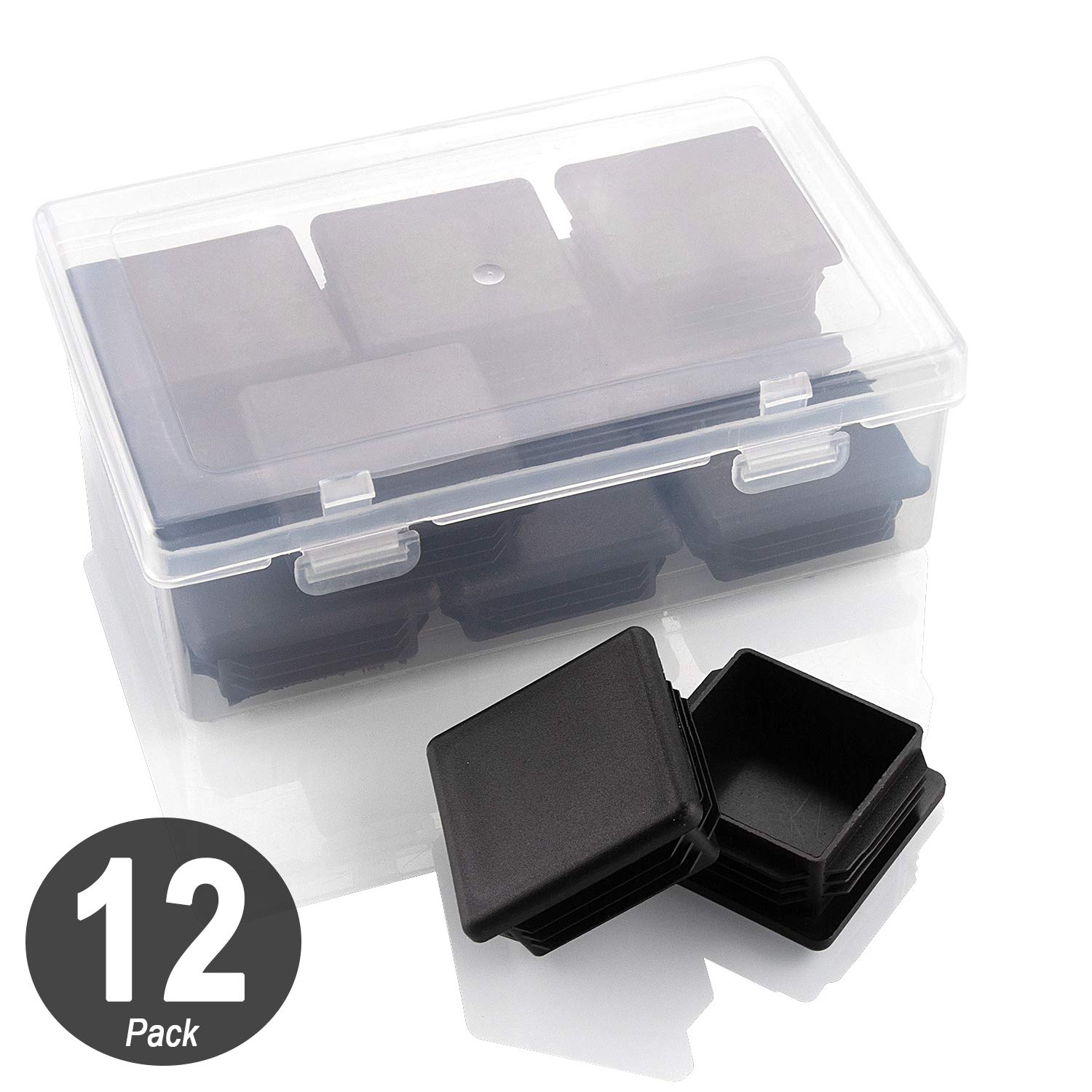 CenterZ 12pcs 1x1 inch Square Plastic Plug + Clear Storage Case, Black Quadrate Flush Mount Tubing End Cap, Durable Sliding Insert Glide, Tube Cover Plugs for Furniture, Table, Chair, Metal Fence Post