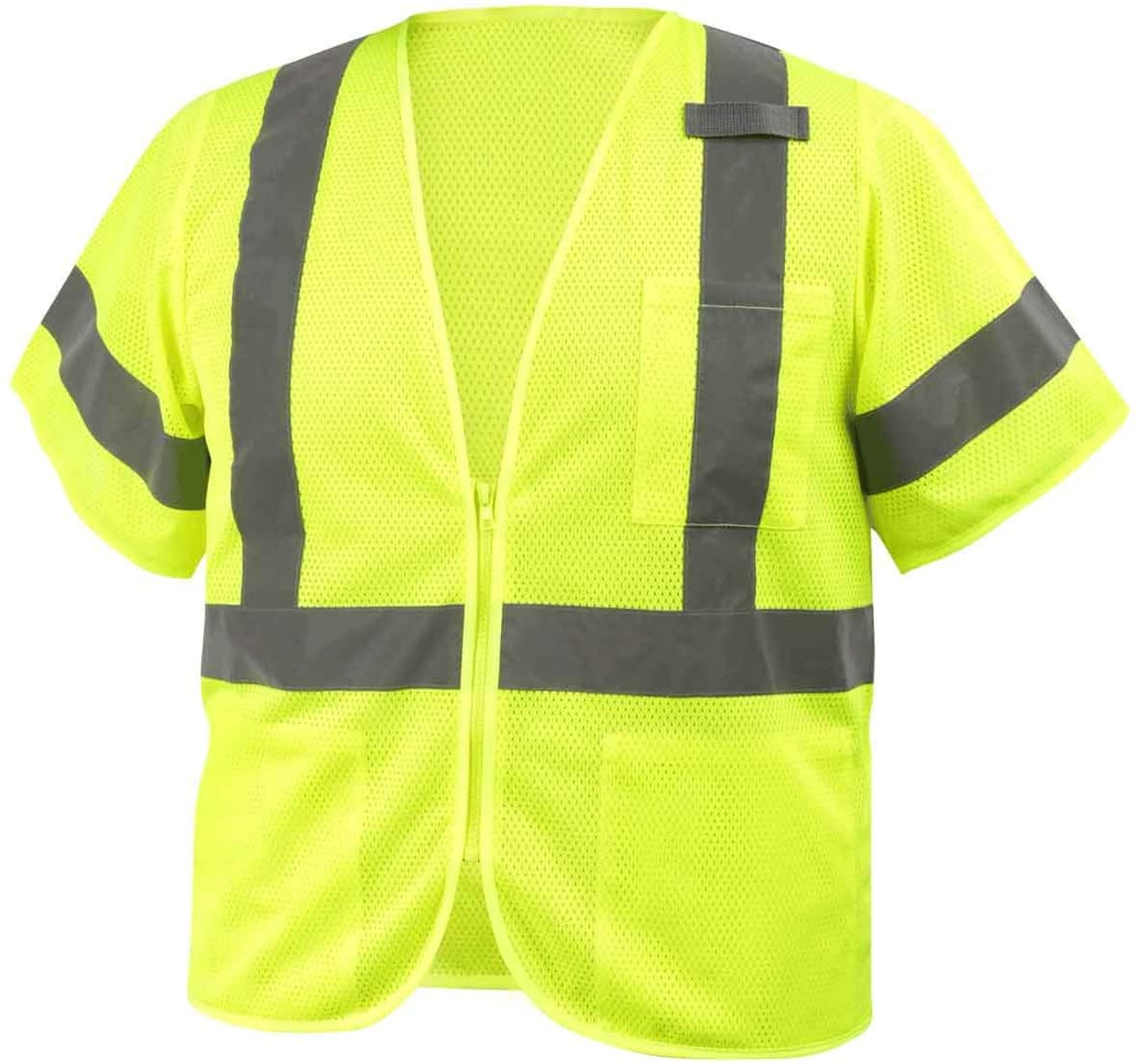 Black Stallion VS2030 ANSI Class 3 Short Sleeve Hi-Vis Safety Vest, Lime, Small