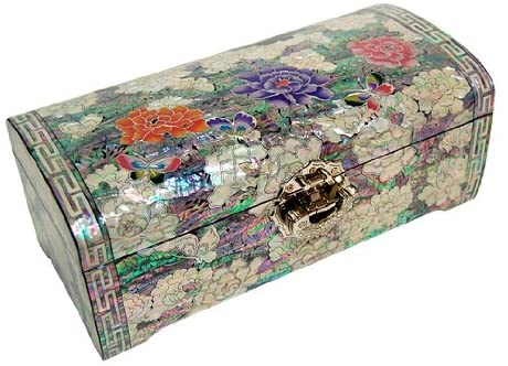 Mother of Pearl Red Purple Pink Peony Flower Design Lacquered Wooden Mirrored Lock Key Jewelry Trinket Keepsake Treasure Box Case Chest Organizer