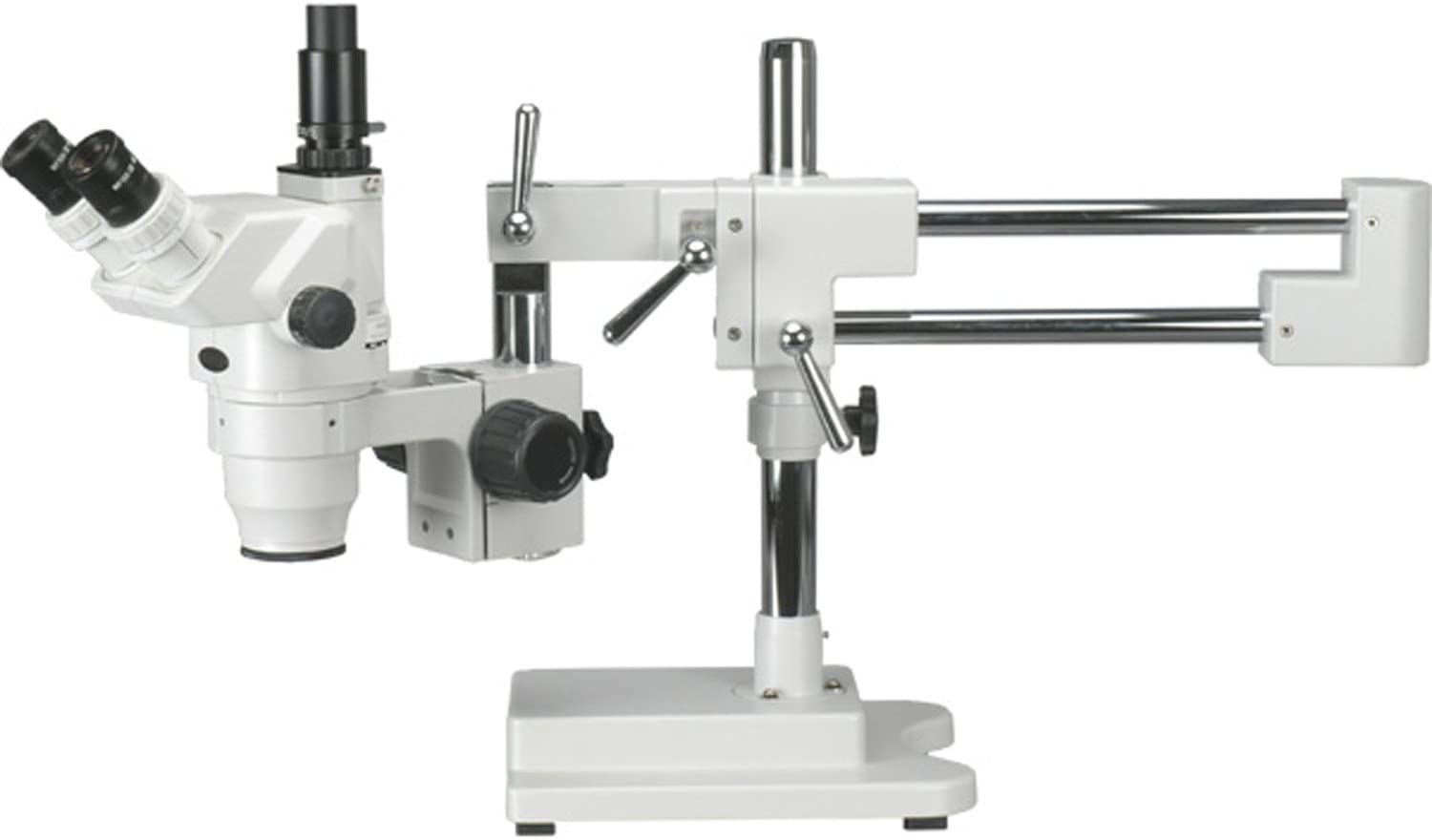 AmScope ZM-4T Professional Trinocular Stereo Zoom Microscope, EW10x Eyepieces, 6.7X-45X Magnification, 0.67X-4.5X Zoom Objective, Ambient Lighting, Double-Arm Boom Stand
