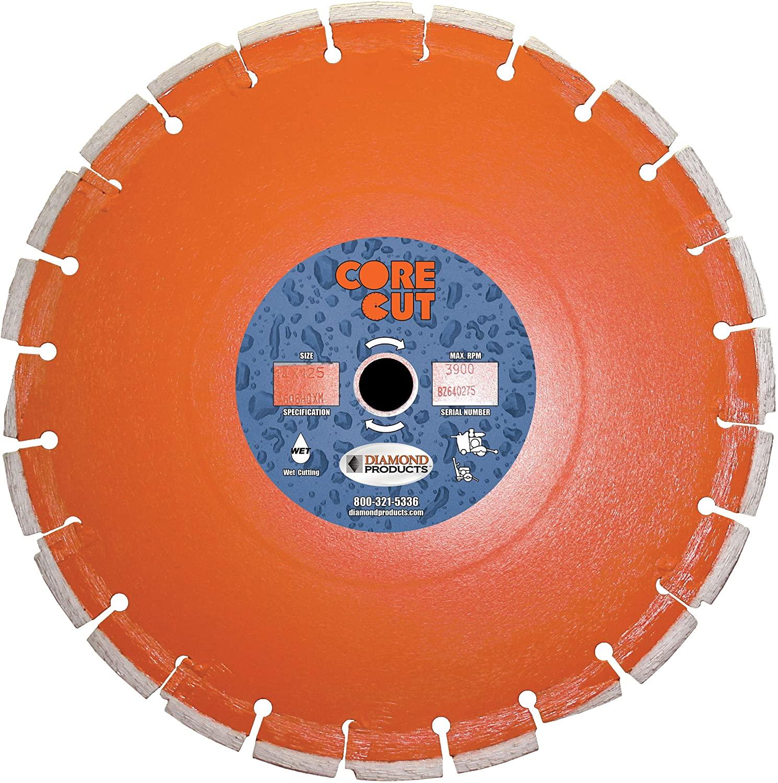 Diamond Products Core Cut 07886DIA Heavy Duty Cured Concrete Diamond Blade, 30-Inch x 0.187-Inch x 1-Inch, Orange