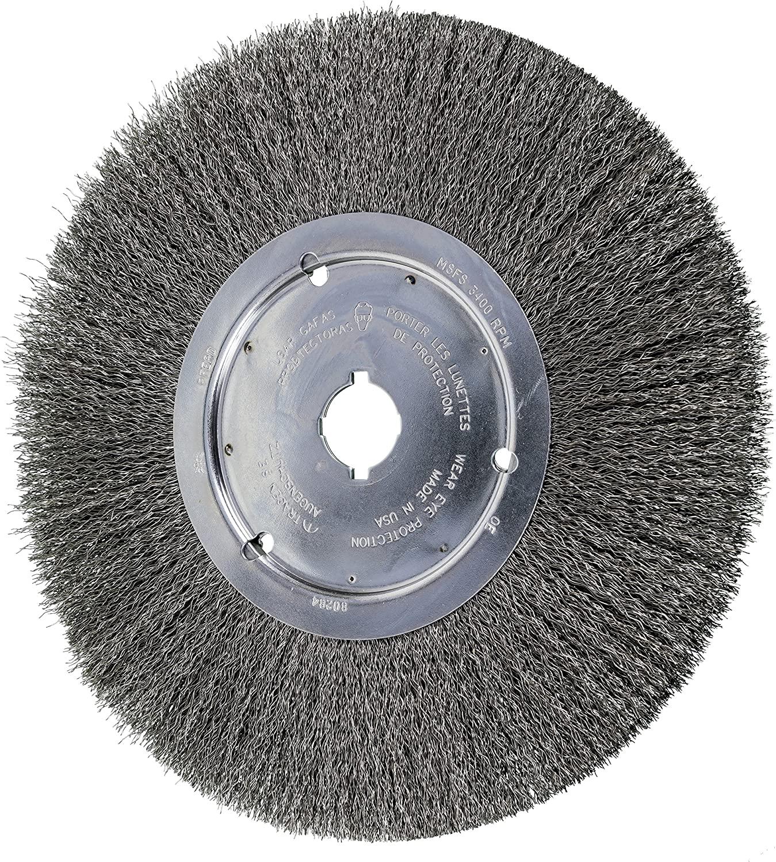 PFERD 80284 Narrow Face Crimped Wheel Brush, Carbon Steel Wire, 12