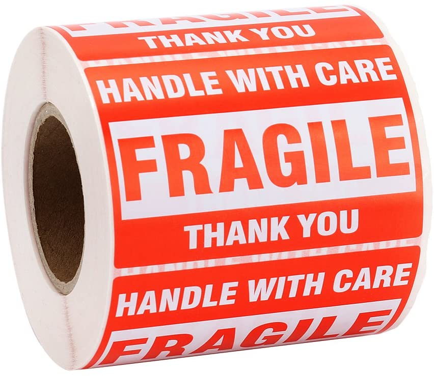 MFLABEL 1 Roll Fragile Tapes - 2x3 Handle with Care Stickers - 500/ Roll Thank You Shipping Labels