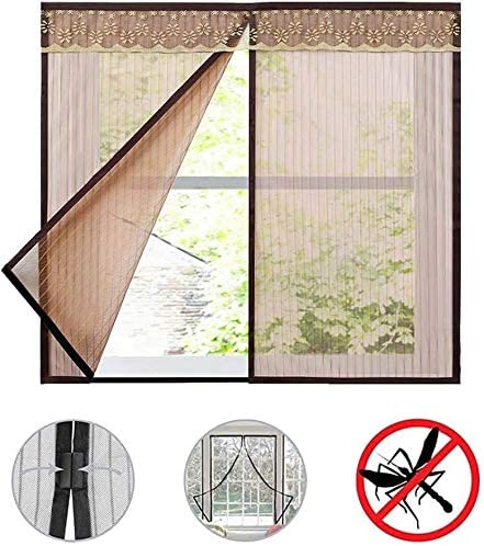 LAMZ Magnetic Window Screen Curtain Stripe Net Mesh Fiberglass Multipurpose Mesh Insect Screen for Doors Garage and Patios 0819 (Color : Brown, Size : 180x195cm(71x77inch))