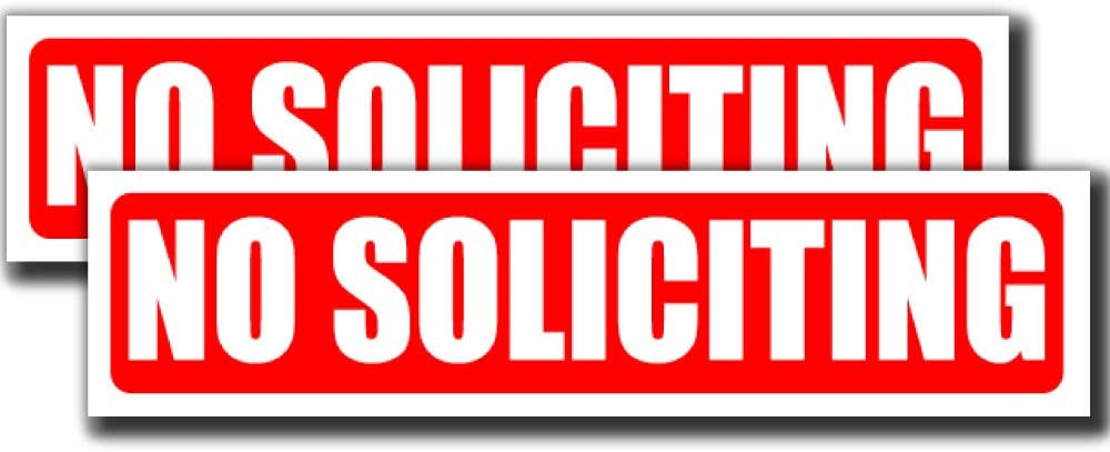 No Soliciting Stickers (Two Pack) | Peel and Stick Decal Signs for Door or Window | (8 x 2 inches) Perfect for House Home Office or Business | Deter Door to Door Sales | Sticks to Glass Metal and More